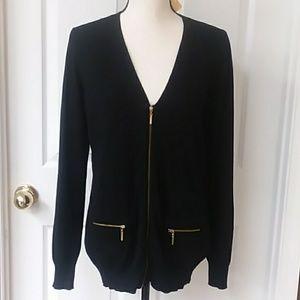 Black cardigan w/zip front size medium NWT